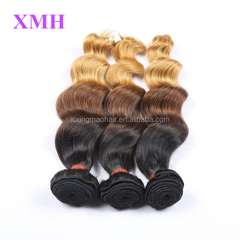 XMH-Perfect Lady brazilian hair weave wet and wavy,colored three tone hair weave