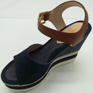 2018 New Summer Black Blue Denim High Heel Wedges Sandals for women and ladies