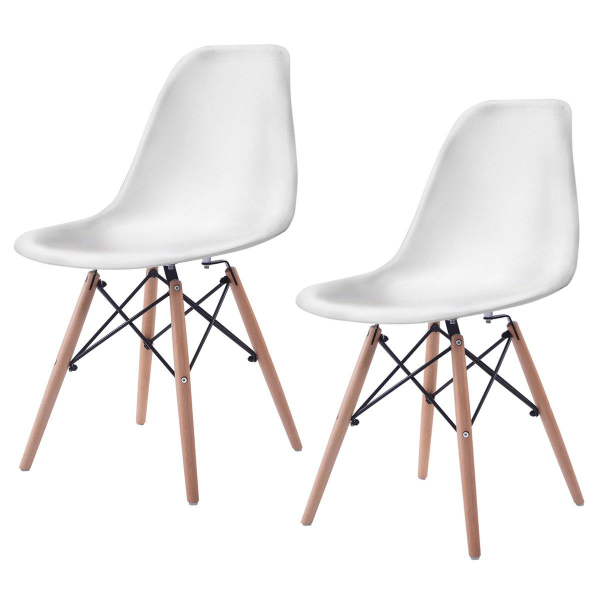 Giantex Set of 2 Mid Century Modern Style DSW Dining Side Chair Wood Leg