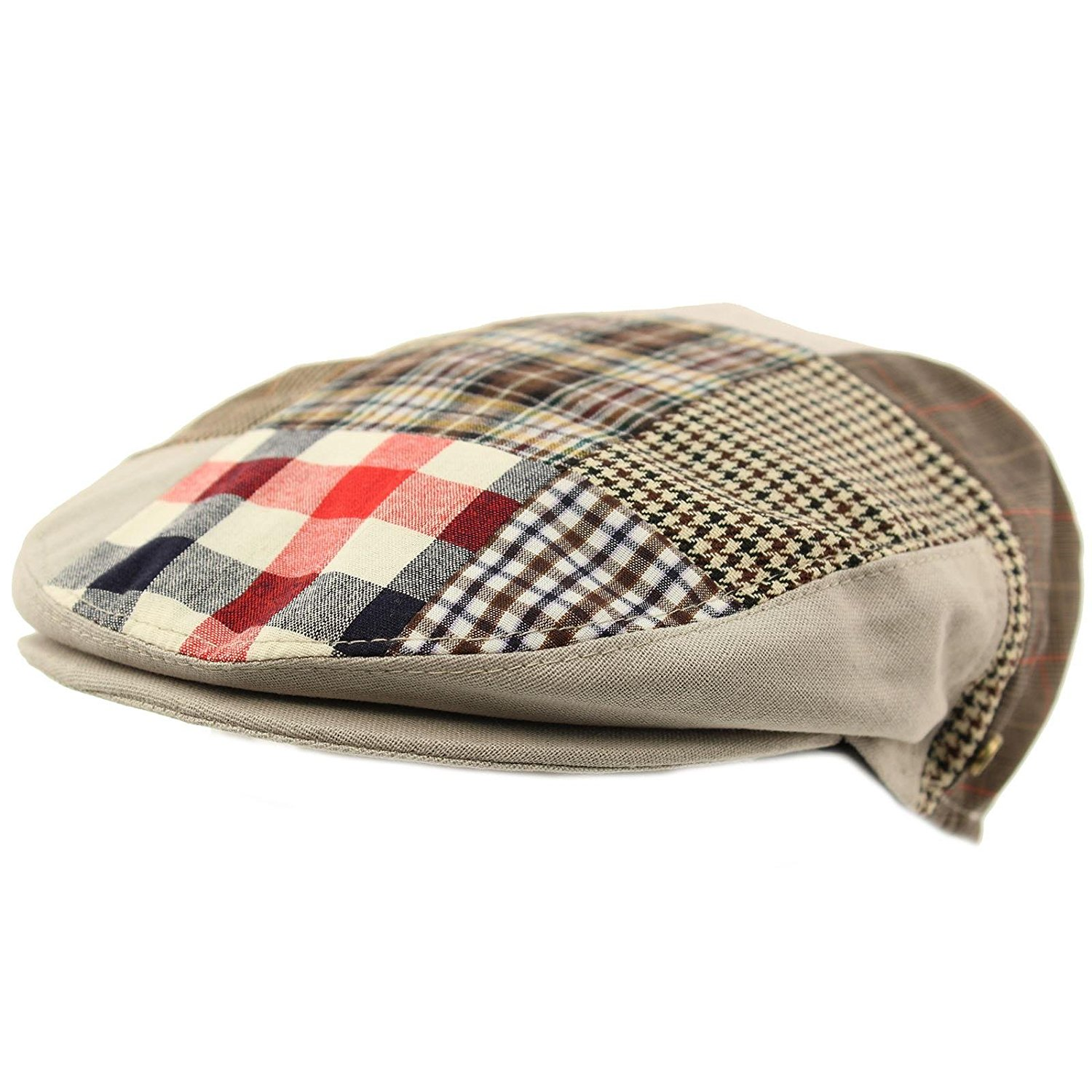 Get Quotations · Men s Cotton 14 Patch IVY Plaids Houndstooth Driver Cabby  Flat Cap Hat Gray 4899f72fcc5a