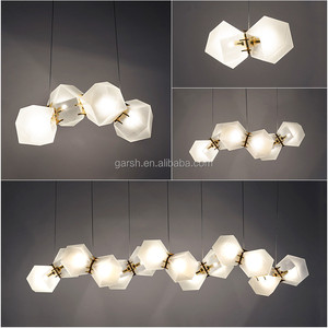 Replica Designer Welles Hanging Lamp Frosted Glass Gold Metal Pendant Light Chandelier Modern