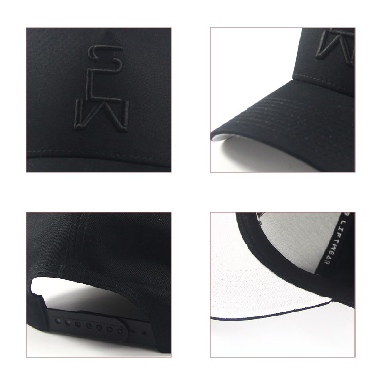 Supercrown mens Headwear Baseball caps sports for small heads Black 5 Panel 3d embroidery logo White Underbrim Snapback Hats