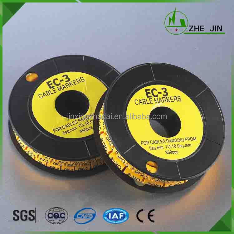 Zhe Jin 2016 Manufacturer Yellow Color Number Tube EC-3 5-10mm Cable Wire Markers,EC Type Cable Marker
