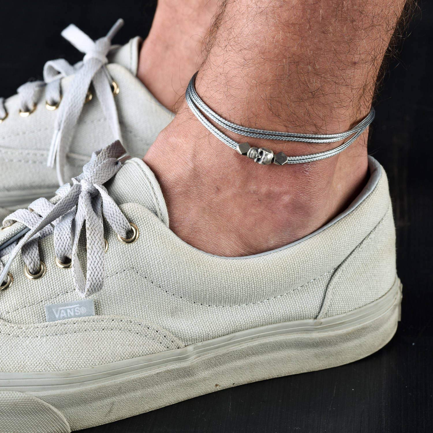 Handmade Gray Anklet For Men Set With Silver Plated Skull Pendant By Galis Jewelry - Ankle Bracelet For Men - Skull Anklet For Men