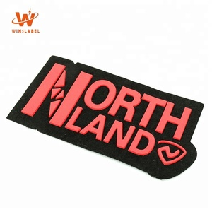 High Quality Low MOQ Embossed Private Brand Name Sewing on Suede Fabric Clothes Labels Custom 3D Rubber Silicon PVC Felt Patches