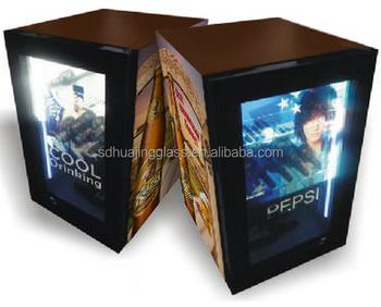 Mini Kühlschrank Mit Werbung : Glastür mini kühlschrank transparente lcd video display