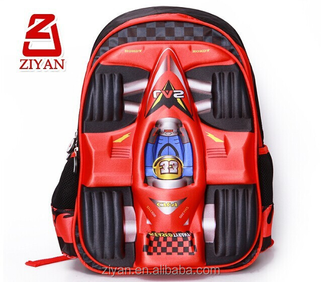 3D red racing car school bag for boys