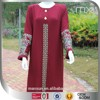 graceful date red full sleeve abaya embroidery and button front 2015