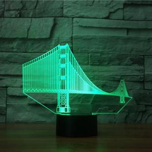 3d glow led sensor visual kids home decor Golden Gate Bridge shape acrylic color night lighting