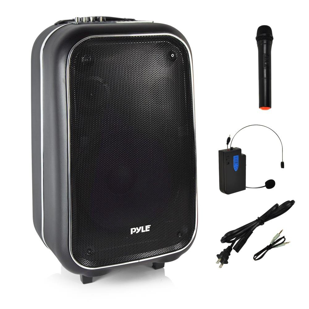 Pyle Portable PA Speaker | Wireless Bluetooth Karaoke System, Wireless Microphone, Built-in Rechargeable Battery | Portable Carry Wheels | FM Radio | USB MP3 Player | Quality Structure (PWMA1225BT)