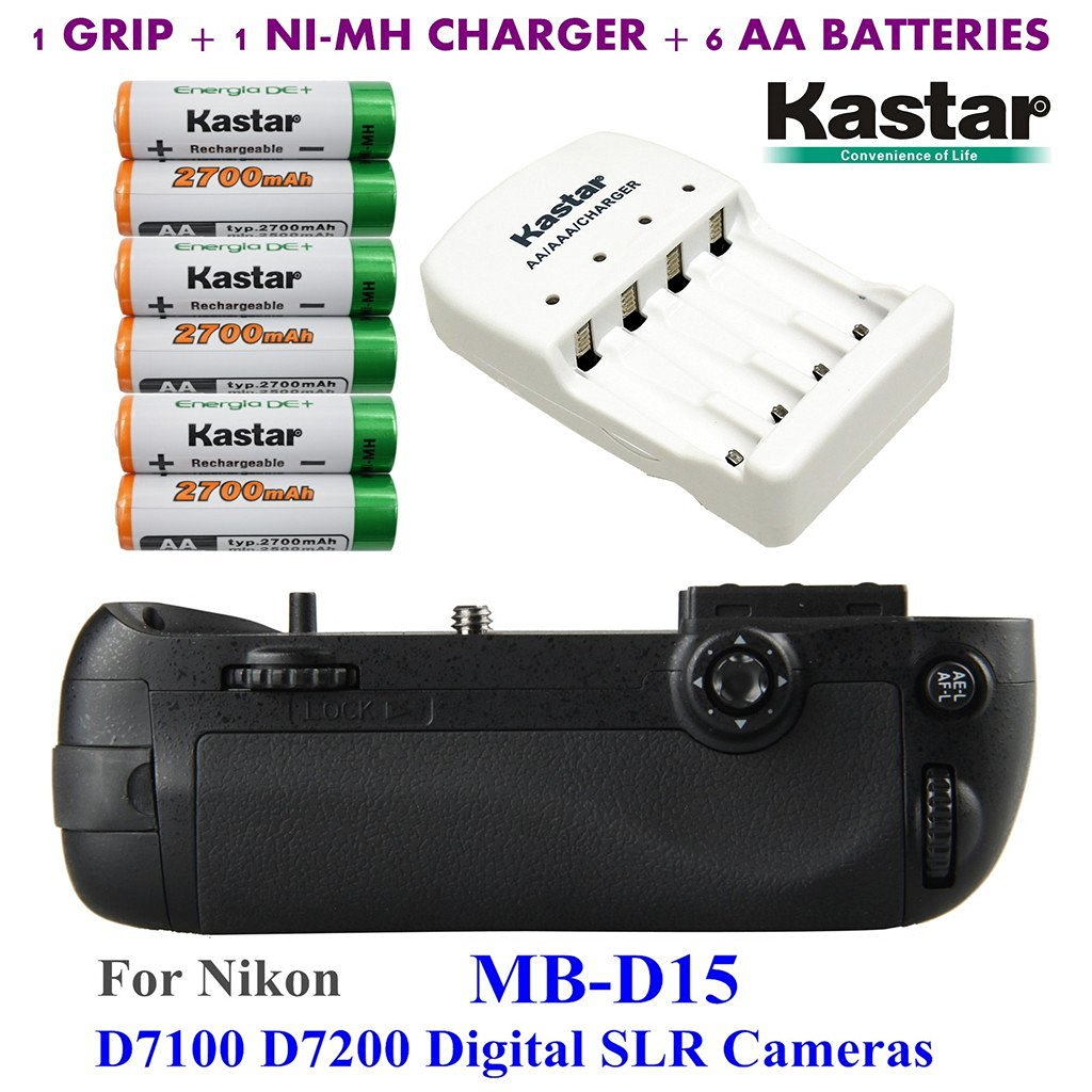 Kastar Pro Multi-Power Vertical Battery Grip (Replacement for MB-D15) + 6x AA NI-MH Batteries(2700mAh) + NI-MH Charger for Nikon D7100 D7200 Digital SLR Cameras