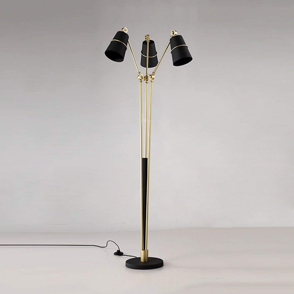 WAN SAN QIAN- Creative Postmodern Iron Floor Lamp Bedroom Study Room Parlor Art Villa 3-Head Floor Lamp Black 160x25cm Floor Lamp
