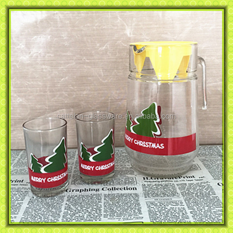 Merry Christmas,Pine Tree Printed Water Pitchers With 4 Cups,5pcs ...