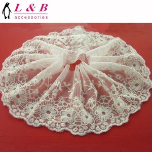 Fashion off white cotton embroidery tulle lace trim