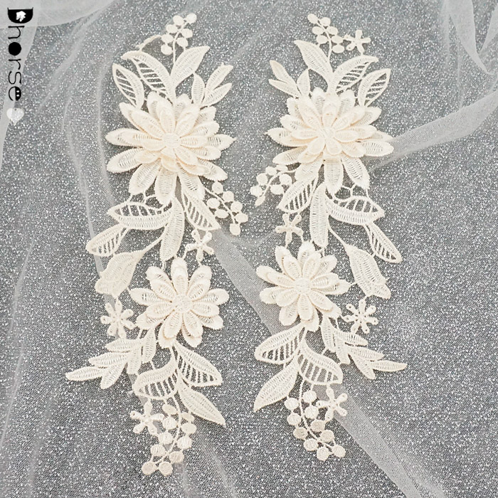 8.5*24cm hot sell water soluble flower 3d lace applique