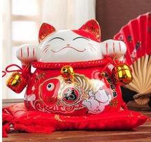 YM керамическая копилка maneki neko для домашнего декора, украшения комнаты, керамические милые украшения, фарфоровые статуэтки для кошек(Китай)