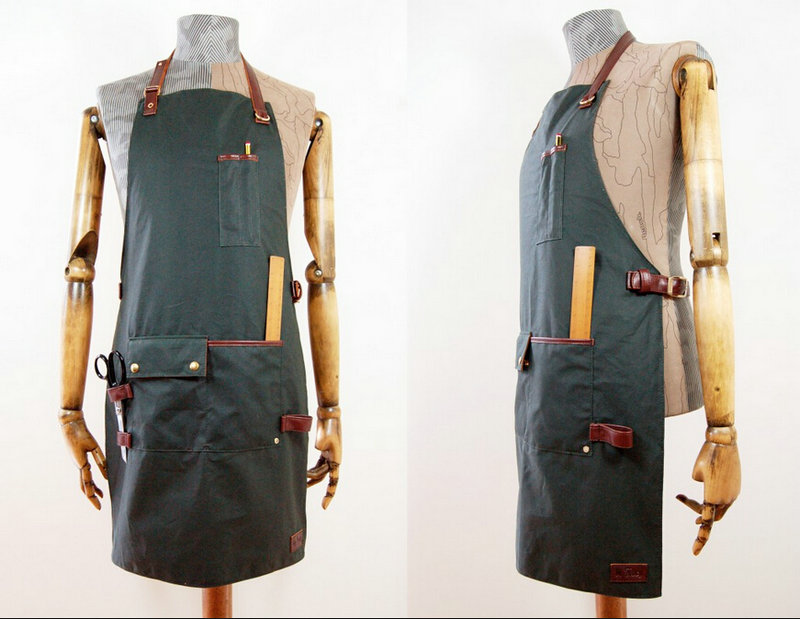 Vintage Waxed Cotton & Antiqued Brown Leather Workwear Apron ...