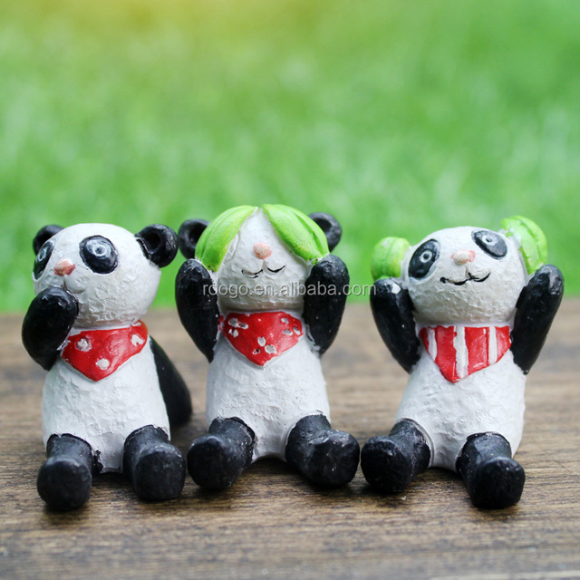 New Product Garden Deco Resin Animal Figurines Mini Panda Garden Ornament