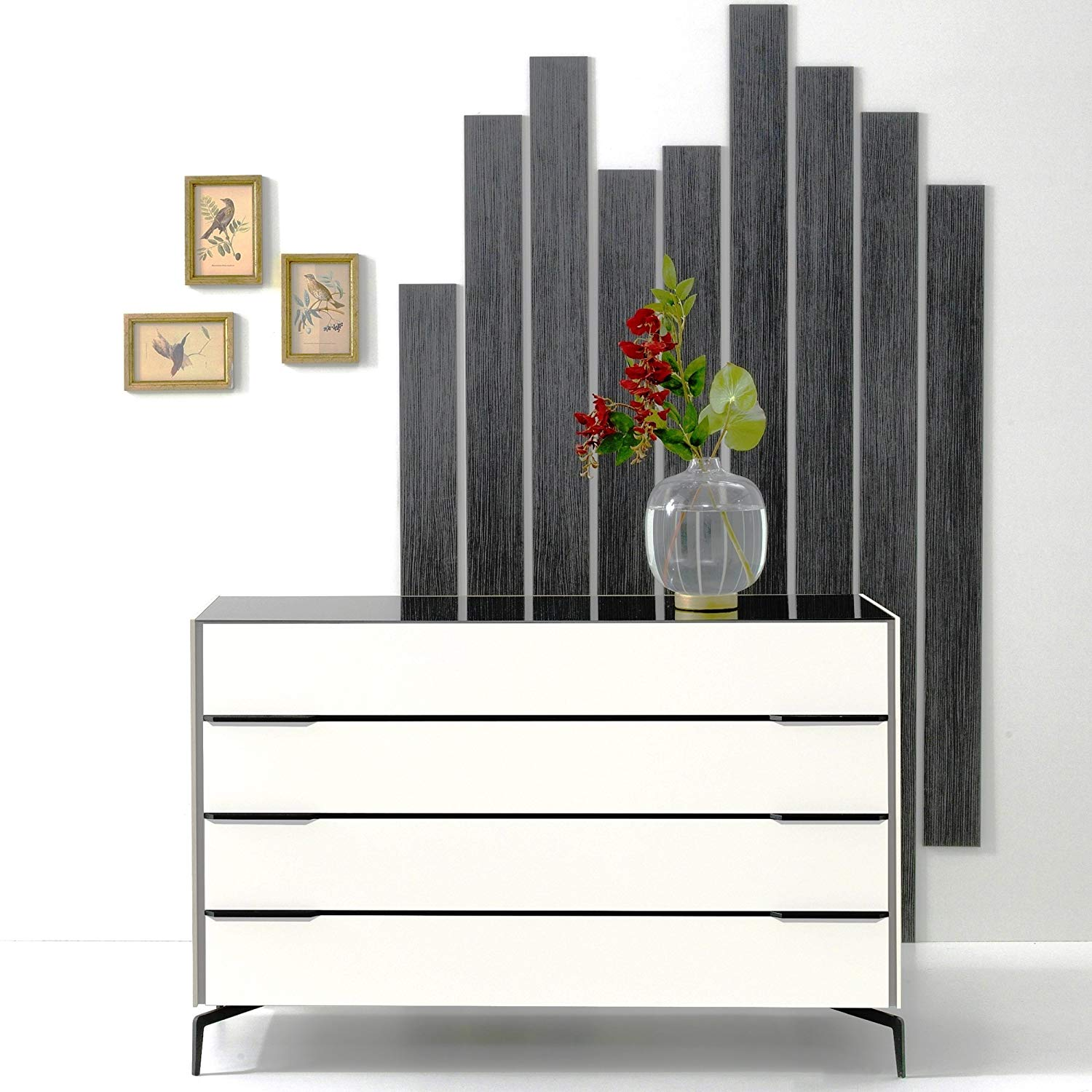 Adam and Illy COR0169 CORA Chest of Drawers, Glam Black/White