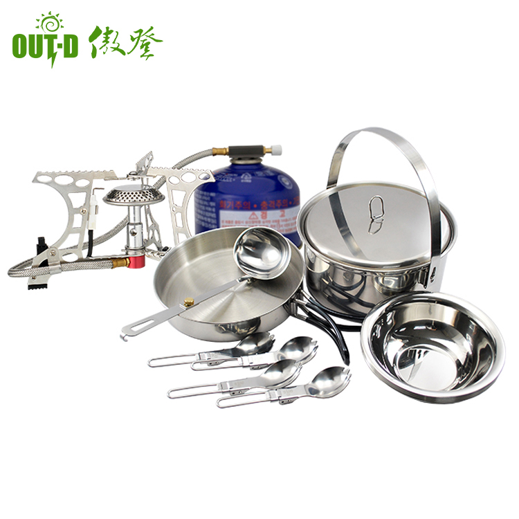wholesale outdoor cooking mess kit picnic set portable camping cookware