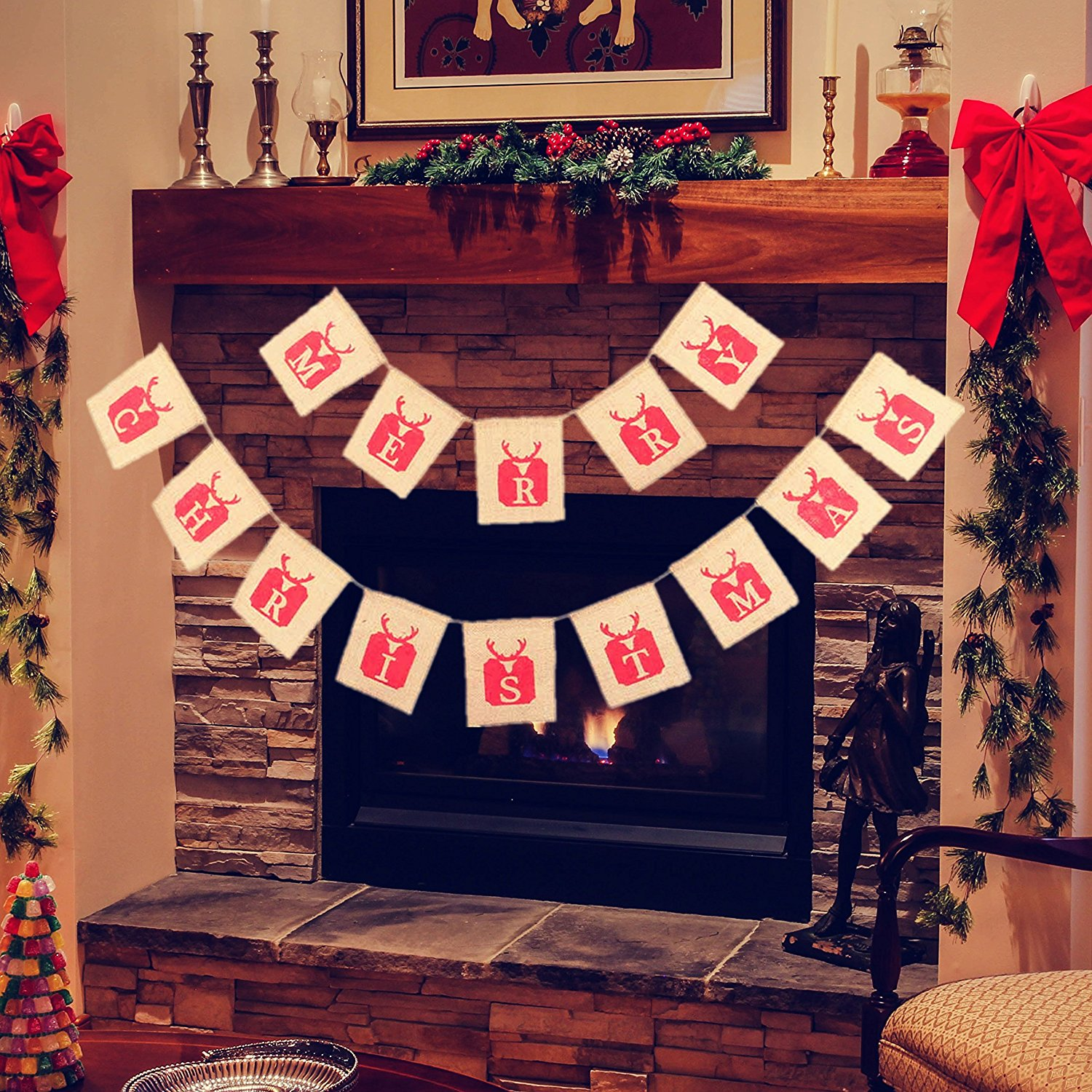 Merry Christmas Burlap Banner for Christmas Decorations, Christmas Banner, Burlap Christmas Banner Garlands for Home Decor Xmas Party Photo Props VAG035