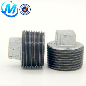 black/galvanized malleable cast iron pipe fitting plug