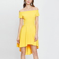 Short sleeeve off shoulder dip hem short yellow dress