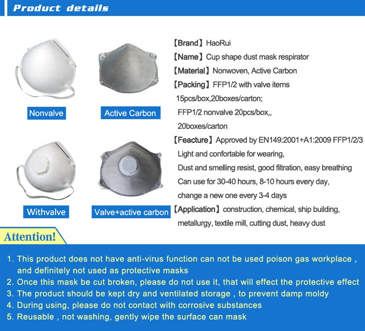 Active Carbon N95/ffp1/ffp2/ffp3 Dust Mask Respirator
