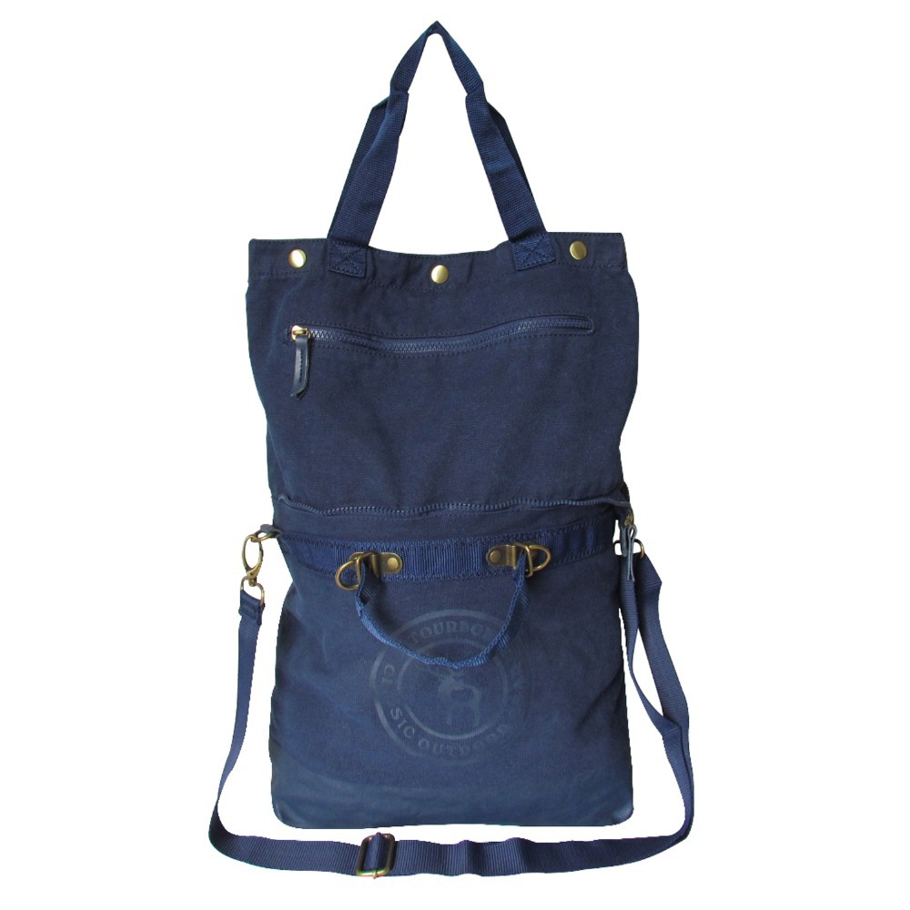 2015 New Design Tourbon Canvas Women Bag Fashion Casual Blue Leisure Bag Zipper Pocket Handbag For Shopping Free Shipping