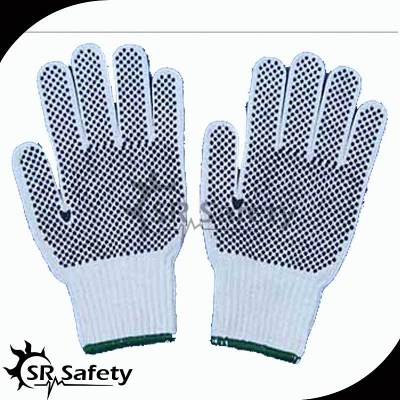 Brand Pvc Dotted Natural White Cotton Safety Work Gauntlet Gloves