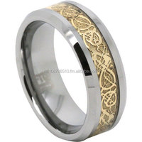 Tungsten Carbide Mens Ring With Gold Detailing
