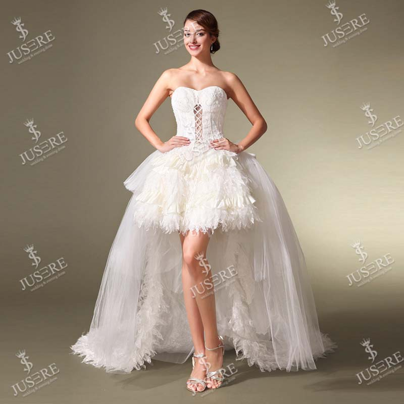 Beautiful sweetheart knee length short feather skirt for Short wedding dress with removable train