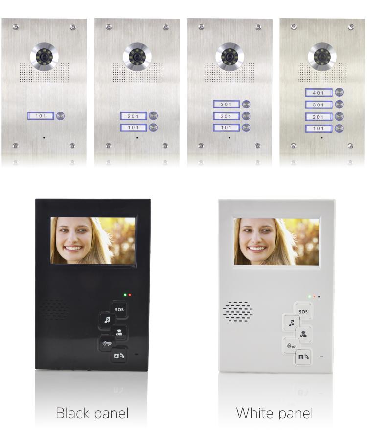 Stainless steel and nameplate outdoor station, 4.3 inch handfree video code unlocking villa wired villa video intercom