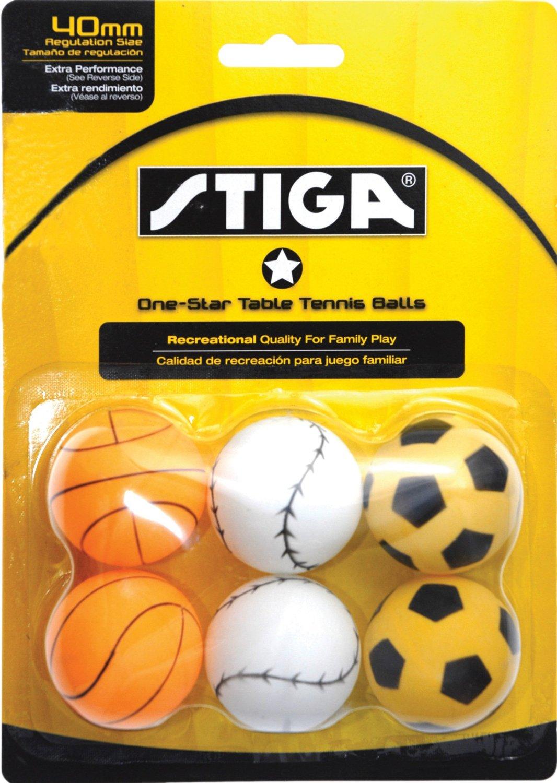 STIGA 1-Star Sport Table Tennis Balls (6 Pack)