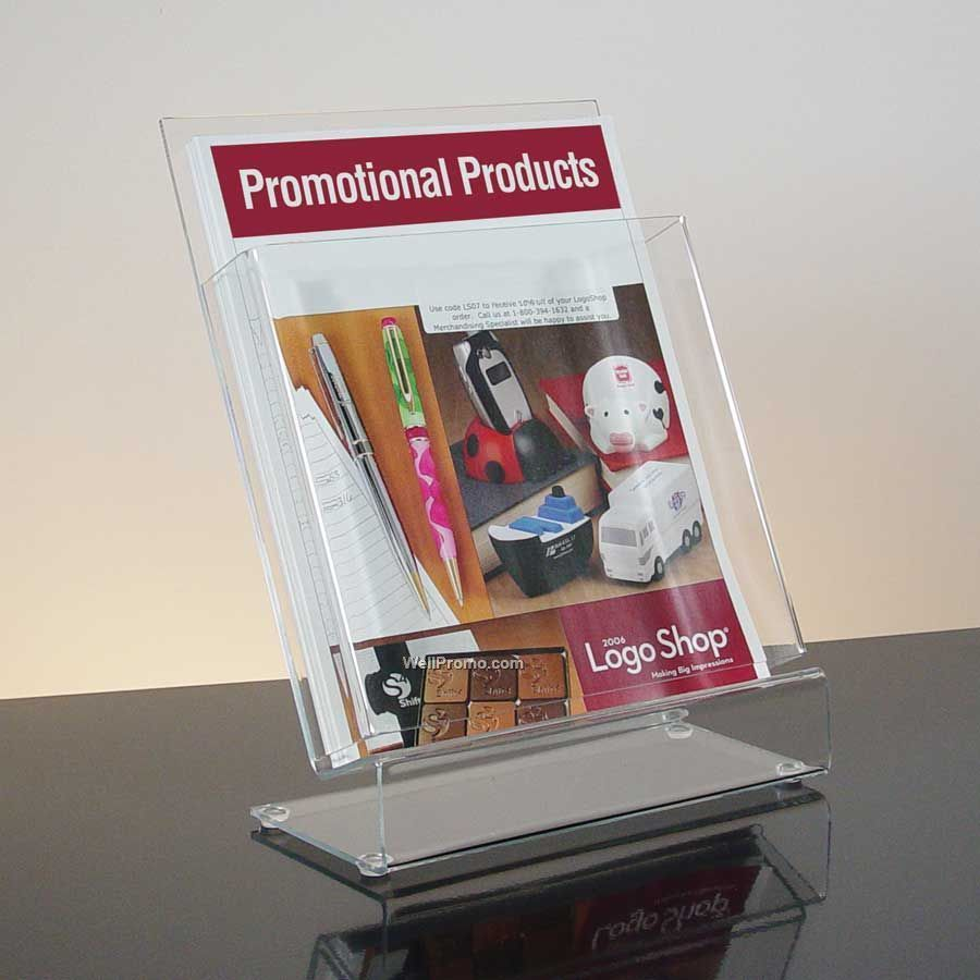 Slant Back Clear Acrylic Literature Holder With Business Card Pocket ...