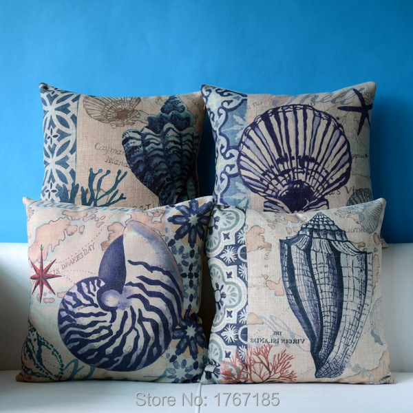 2015 Vintage Mediterranean style Conch Cotton Linen Cushion Pillow Sofa Cushion Pillow Cover Home Decoration Cushion Covers