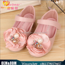 Wholesale soft sole girl sandal pearls flowers sweet princess leather party children sandal