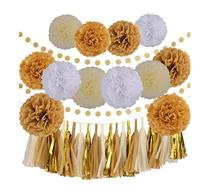 35 Pcs Gold White Khaki Cream Party Decoration Kit with Tissue Paper Pom Poms Flowers Tissue Tassel Garland Decorations