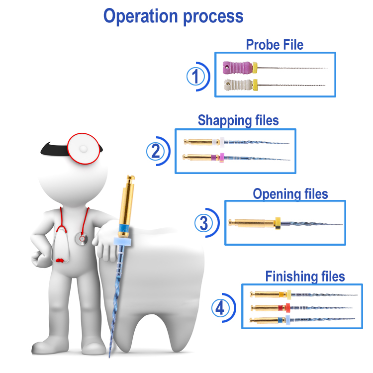 High Quality Dental Rorary Blue Heat Activation Files NITI Root Canal Files
