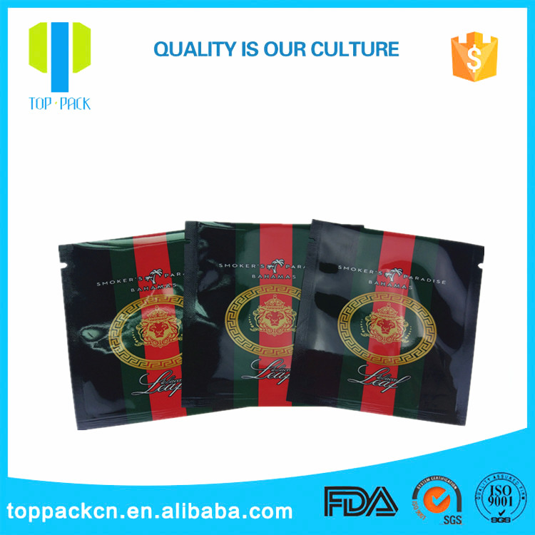 Three-side sealing aluminum foil plastic tabacco bag