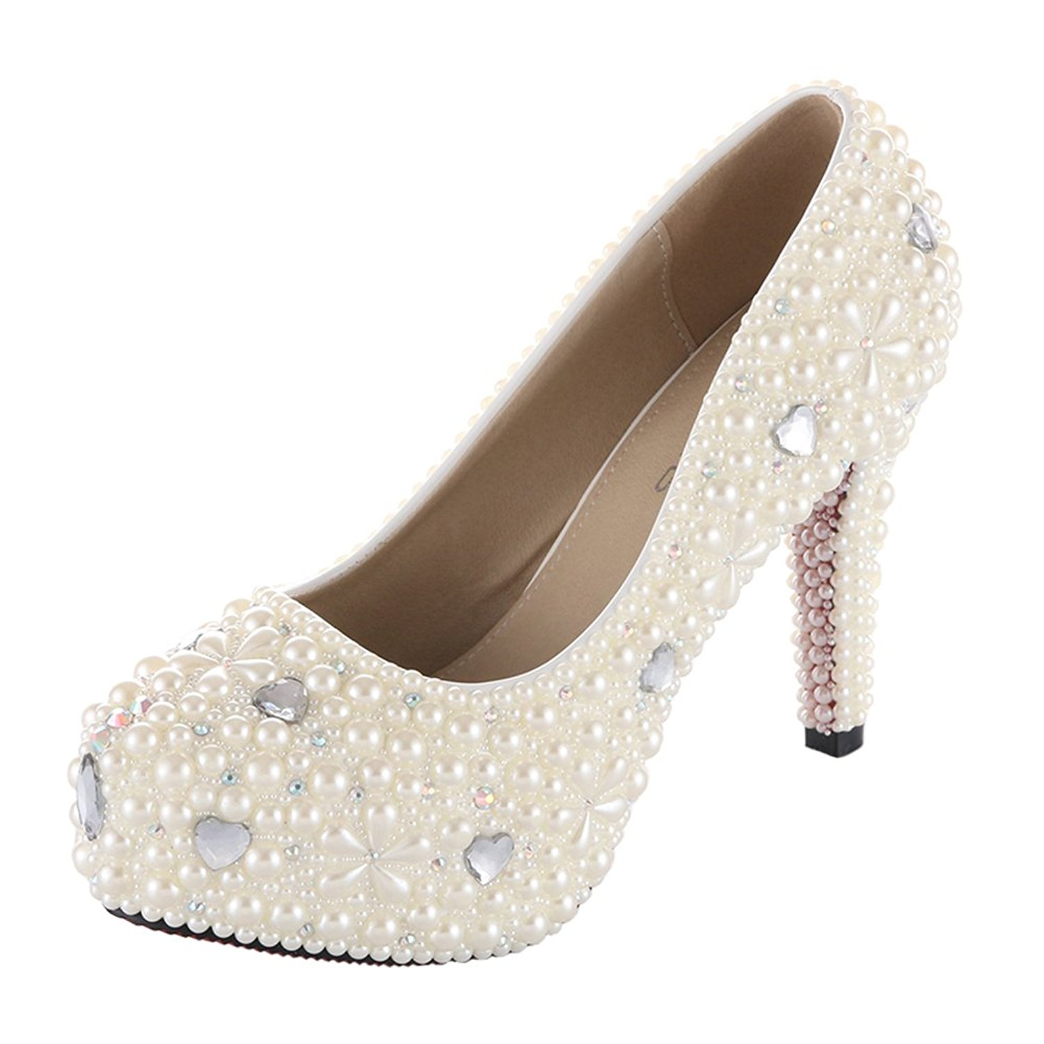 VELCANS Rhinestone Crystal Pearl Women Platform Bridal,Bridesmaid,Party,Evening,Proms Dress Shoes Pumps