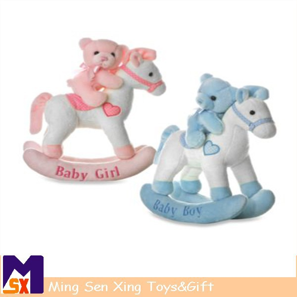Wholesale china baby plush rocking horse with baby bear