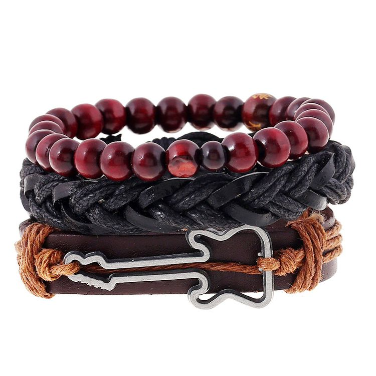 Hand Wave Red Beaded Leather Bracelet Men Vintage Punk Diy Bracelet Sets
