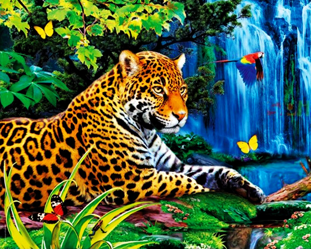GZ611- 40*50 diamond painting water leopard animal arts from my diamond drawings with your idea on canvas