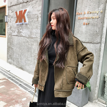 Oversize thick chamois leather winter bomber jacket womens motorcycle army green jacket