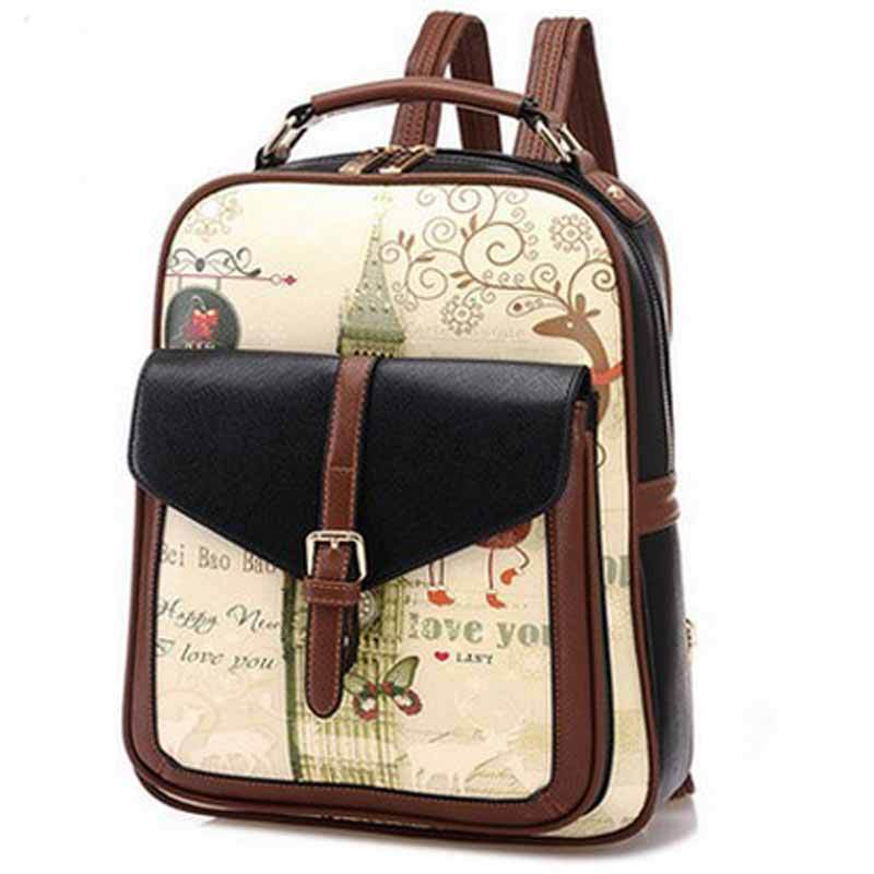 29aaa2bdac73 Get Quotations · 2015 Women Backpack With High Quality Leather Printing Backpack  Backpacks For Teenage Girls and Women Wholesale