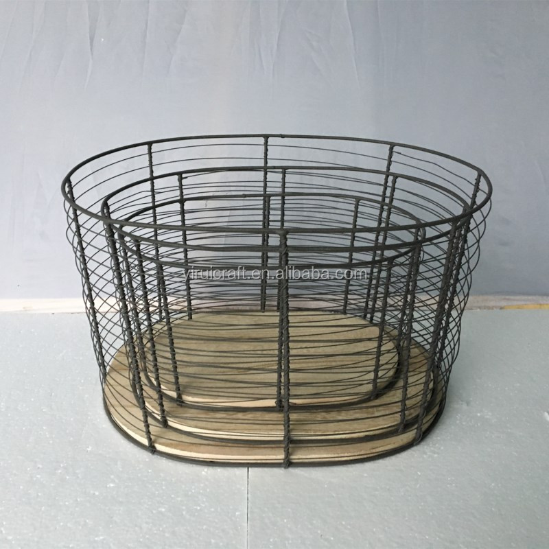 Wholesale high quality cheap black metal iron wire mesh wall hanging gabion storage basket/shelf/rack set of 3 with MDF board