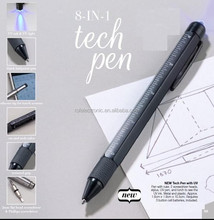 Promotional gift tool pen With ballpen+ruler+leveler+screw driver+touch pen+UV ink&UV light