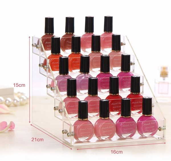 Flat Pack Custom Clear Nail Polish Organizer Shelf Stands,Acrylic 5 Step Counter Nail Polish Racks Display Holds Up 50 Bottles