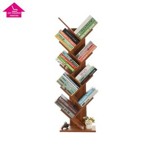 9-Shelf Hard Wood Tree Shaped Bookcase Shelving Free Standing Display Bookshelf Storage Organizer for CDs Records & Books